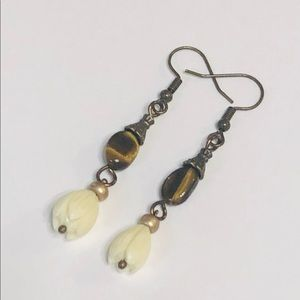Pretty Tiger Eye & Hand-Carved IvoryTulip Earrings